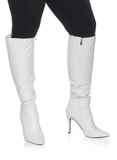 Faux Leather High Heel Over the Knee Boots,WHITE,large
