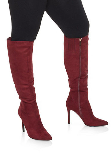 Faux Leather High Heel Over the Knee Boots,WINE,large
