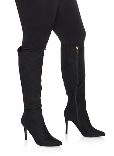 Faux Leather High Heel Over the Knee Boots,BLACK SUEDE,large