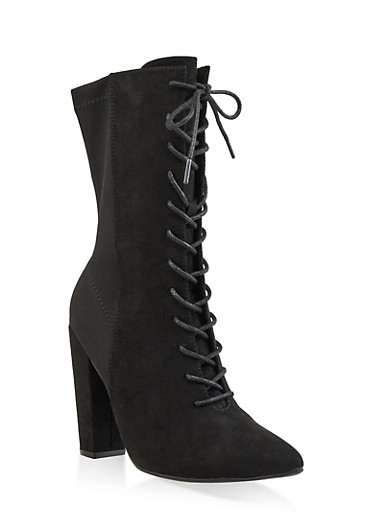 Lace Up Pointed High Heel Booties,BLACK SUEDE,large