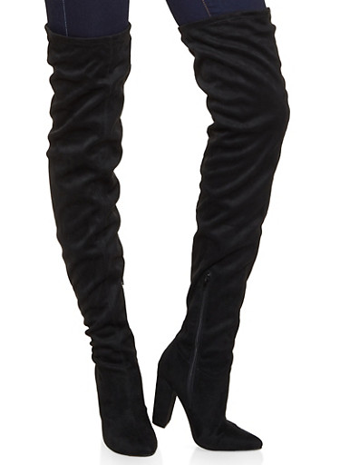 Over the Knee Pointed Block Heel Boots,BLACK SUEDE,large