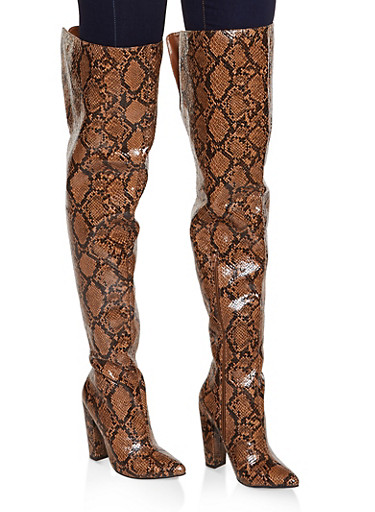 Over the Knee Pointed Toe Boots,BROWN,large