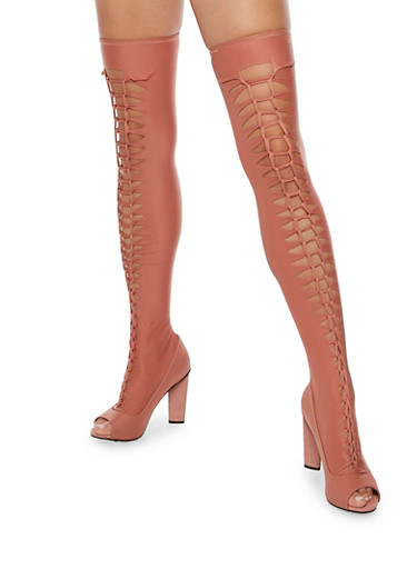 Laser Cut Twist Front Over the Knee Stretch Boots,MAUVE LYC,large