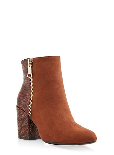 Back Detail Double Zip Booties,BROWN,large
