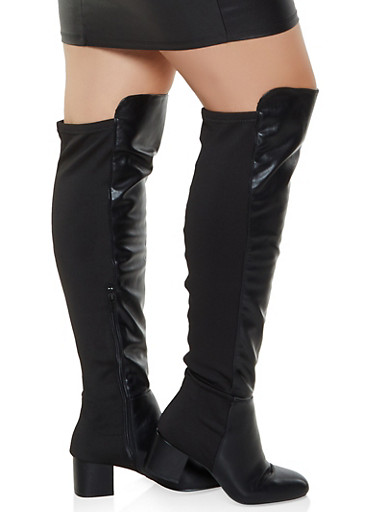 Over the Knee Block Heel Wide Calf Boots,BLACK,large