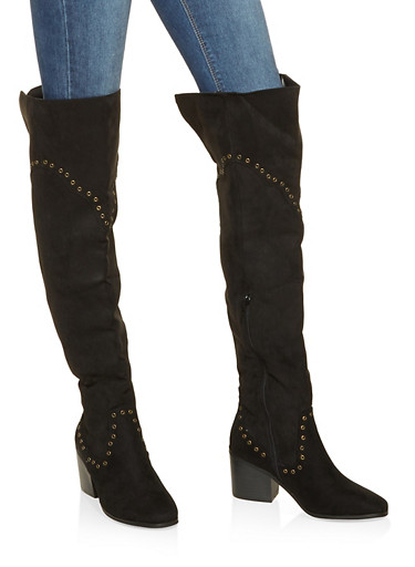 Grommet Detail Over the Knee Boots,BLACK SUEDE,large