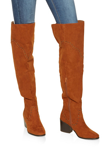 Grommet Detail Over the Knee Boots,CHESTNUT,large