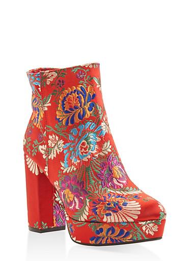 Platform High Heel Booties,RED,large