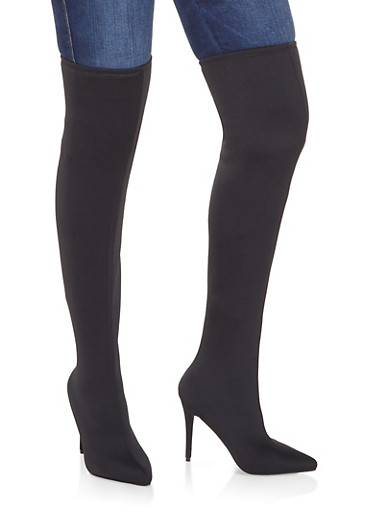 Over the Knee High Heel Boots,BLACK,large