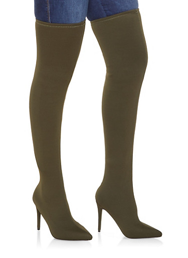 Over the Knee High Heel Boots,OLIVE,large
