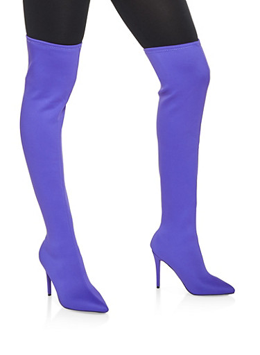 Over the Knee High Heel Boots,PURPLE,large