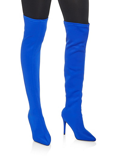 Over the Knee High Heel Boots,BLUE,large