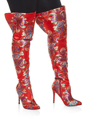 High Heel Over the Knee Boots,RED,large