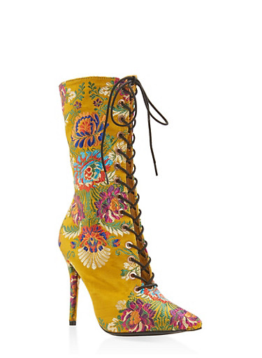 Lace Up High Heel Boots,YELLOW,large