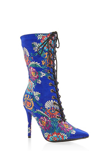 Lace Up High Heel Boots,BLUE,large