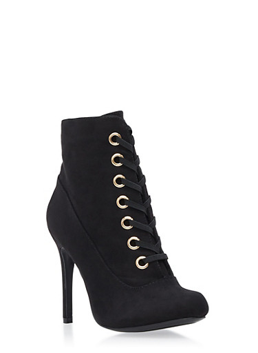 Lace Up Grommets High Heel Bootie,BLACK,large