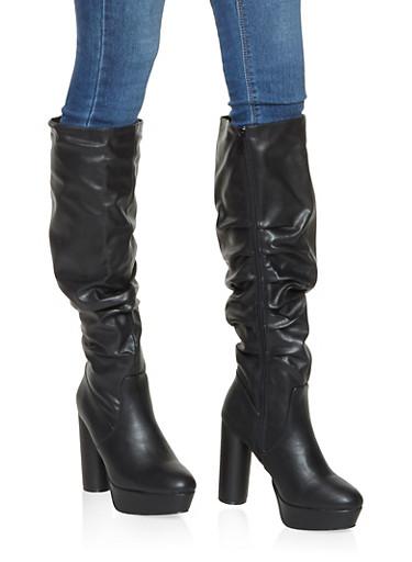 Ruched Cylinder Heel Platform Boots,BLACK,large