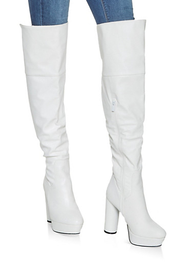 Platform Over the Knee Boots,WHITE,large
