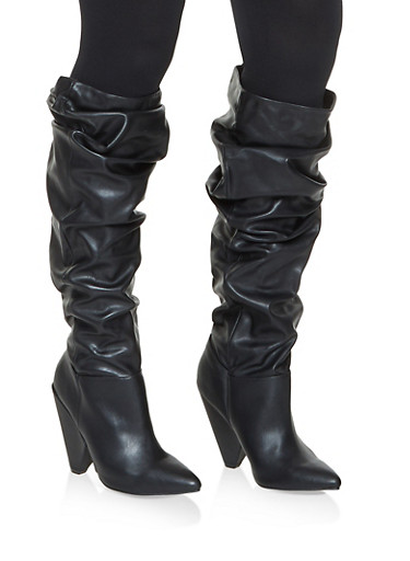 Pointed Toe Ruched Boots,BLACK,large