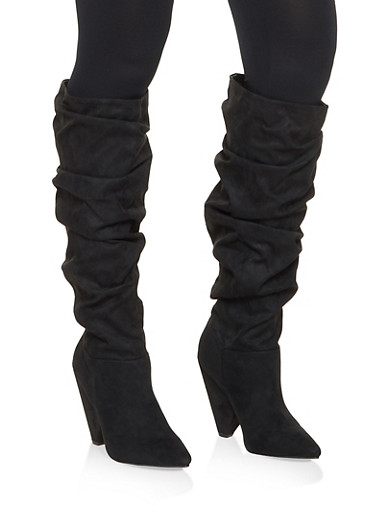 Pointed Toe Ruched Boots,BLACK SUEDE,large