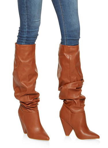 Pointed Toe Ruched Boots,CHESTNUT,large
