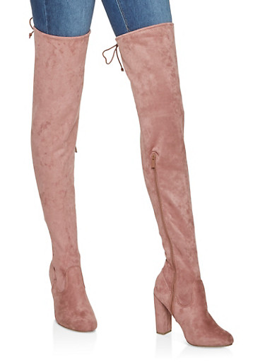 Tie Back Over the Knee Boots,BLUSH,large