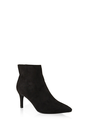 Pointed Toe Mid Heel Booties | 3113014065664,BLACK SUEDE,large