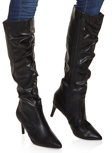 Ruched Knee High Boots,BLACK,large