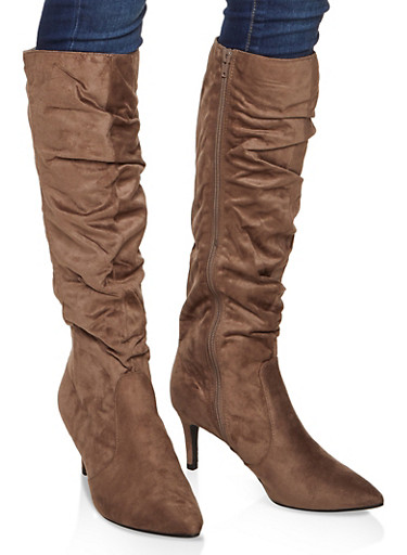 Ruched Knee High Boots,TAUPE,large