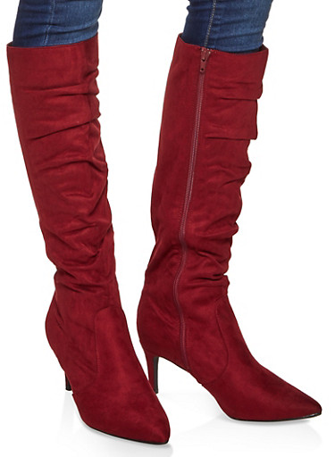 Ruched Knee High Boots,BURGUNDY,large