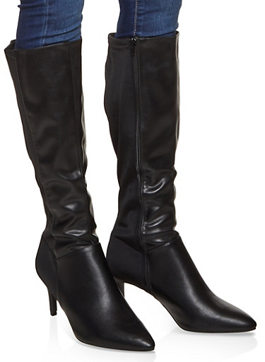 Tall Pointed Toe Boots,BLACK,large