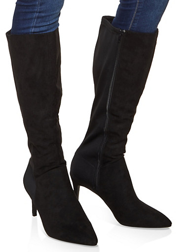 Tall Pointed Toe Boots,BLACK SUEDE,large