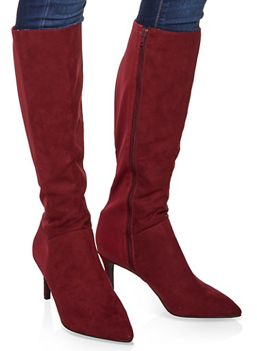 Tall Pointed Toe Boots,BURGUNDY,large