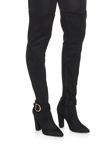 Buckled Over the Knee High Heel Boots,BLACK SUEDE,large
