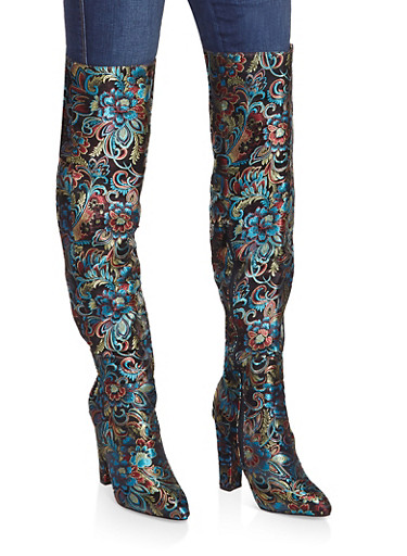 Printed Over the Knee High Heel Boots,BLACK,large