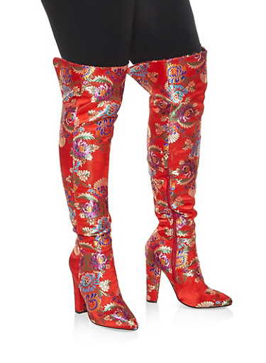 Printed Over the Knee High Heel Boots,RED,large