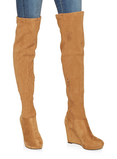 Ribbed Over the Knee Wedge Boots,TAN,large