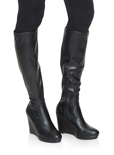 Tall Wedge Boots,BLACK,large
