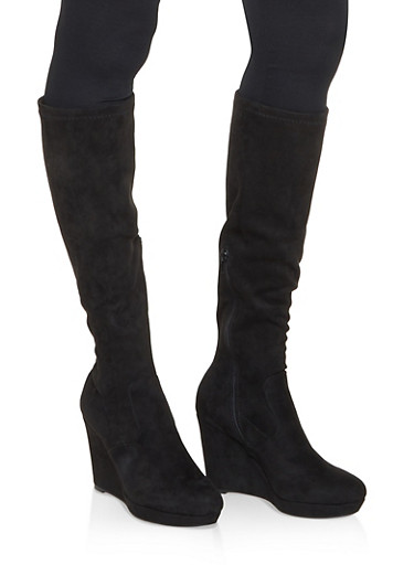 Tall Wedge Boots,BLACK SUEDE,large