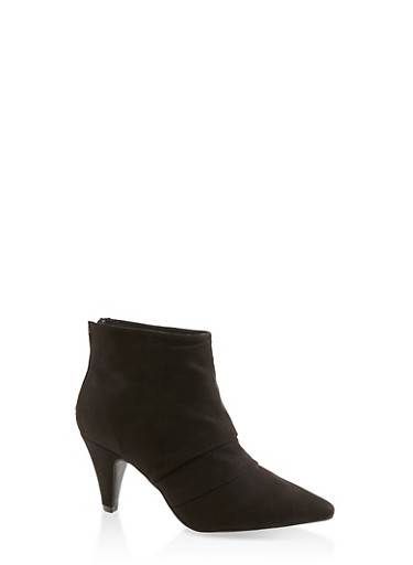Pointed Toe Ruched Ankle Booties,BLACK SUEDE,large