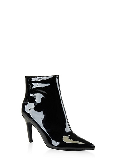 Pointed Toe Mid Heel Booties | 3113014068428,BLACK PATENT,large
