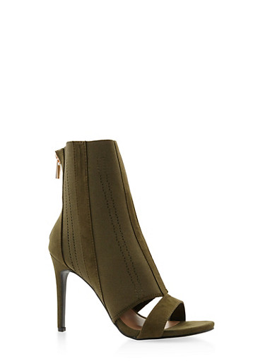 Stretch Knit High Heel Booties,OLIVE,large