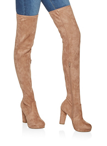 Platform Over the Knee High Heel Boots,CAMEL,large