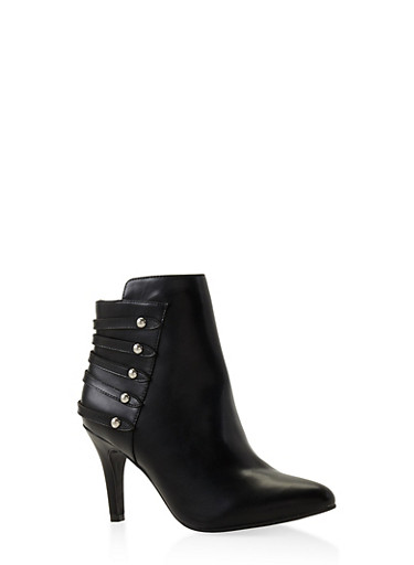 Studded Strap Mid Heel Booties,BLACK,large