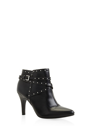 Studded Buckle Strap Mid Heel Booties,BLACK,large