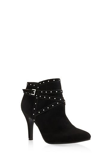 Studded Buckle Strap Mid Heel Booties - BLACK SUEDE - 3113027617426