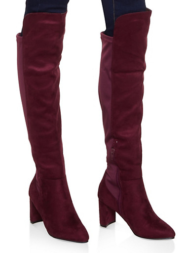 Pointed Toe Stretch Back Boots,BURGUNDY,large