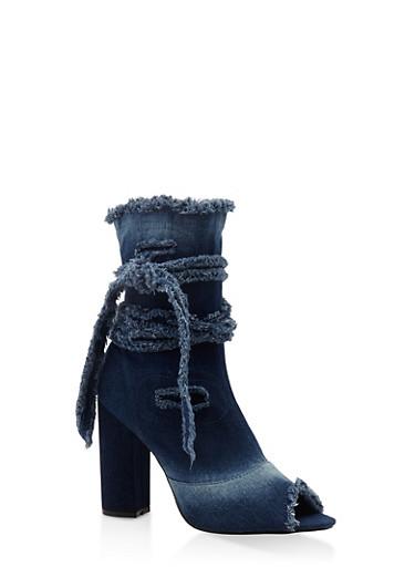 Frayed Peep Toe Denim Ankle Booties,BLUE DENIM,large