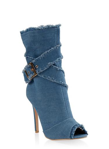 Peep Toe Buckle Detail High Heel Booties,BLUE DENIM,large