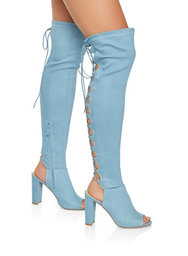 Lace Up Over the Knee High Heel Boots,LIGHT WASH,large
